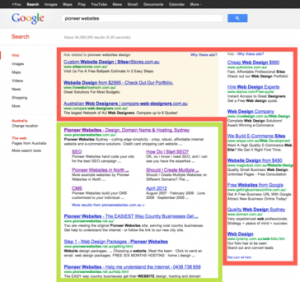AdWords and SEO results on a search engine results page